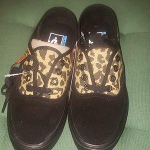 Black and Leopard Vans size 5
